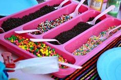 Easy ice cream party toppings! #icecream #parties. Since Mia doesn't like cake, maybe do make your own ice cream sundaes?