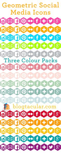 Free Hexagonal Geometric Social Media Icon Buttons to Download from Blogtacular - three colour packs all in four sizes!