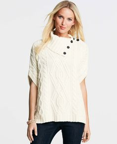 Merino Wool Blend Cable Poncho | Ann Taylor