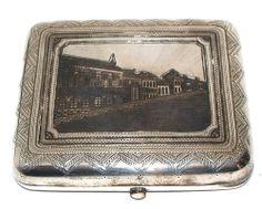 Imperial Russia Silver Niello Cigarette Case 1893 / Street Scene / Signed AE
