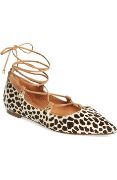 Halogen® 'Owen' Genuine Calf Hair Pointy Toe Ghillie Flat (Women) available at #Nordstrom