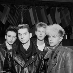English electro-pop group Depeche Mode, Bologna, Italy, 27th November 1984. Left to right: Alan Wilder, singer Dave Gahan, Andy Fletcher and Martin Gore.