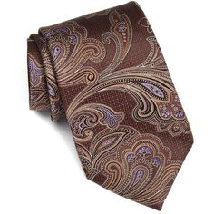 Men's Nordstrom Men'S Shop 'Large Paisley' Silk Tie (2.125 RUB) ❤ liked on Polyvore featuring men's fashion, men's accessories, men's neckwear, ties, brown, mens ties, mens paisley ties and mens silk ties