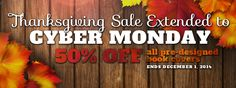 The 50% off Thanksgiving Sale has been extended by one day to include Cyber Monday!