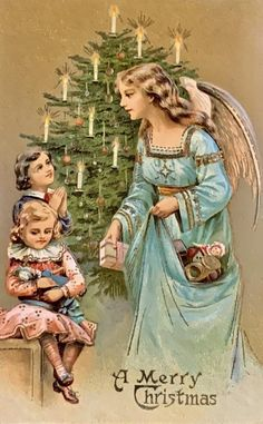 Old Time Christmas, Old Fashioned Christmas, Christmas Scenes, Christmas Past, Christmas Angels, Vintage Christmas Images, Victorian Christmas, Christmas Pictures, Holiday Greeting Cards