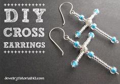 Christmas or Easter craft idea! DIY Cross Earrings Tutorial- {video} JewelryTutorialHQ
