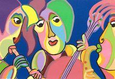 Zeefdruk Trio gitano van Twan de Vos, drietal speelt samen prachtige muziek