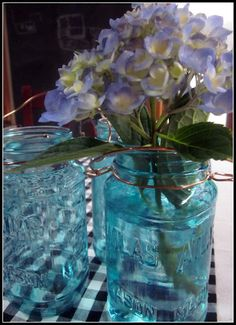 Painting Blue Mason Jars