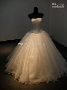 Strapless Rhinestone Crystal Beaded Corset Lace-up Back Wedding Dress