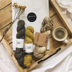 Such a cute haul by from our Finnish stockist / Lichen and Lace Superwash Merino in Shroom looking cozy beside Knitting Projects, Fiber, Place Card Holders, Cute, Instagram, Low Fiber Foods, Kawaii, Knitting Stitches