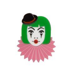 Clown Brooch  laser cut acrylic by sugarandvicedesigns on Etsy