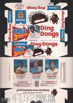 hostess product boxes | 1976 Linnett Products Pee-Wee Superstars - Panel of Six Reds Cards ...
