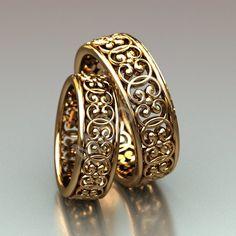 Нажмите чтобы посмотреть картинку, используйте мышь для перетаскивания. Используйте клавиши вперёд и назад Wedding Ring Pics, Wide Wedding Bands, Jewelry Design Earrings, Necklace Designs, Gold Ring Designs, Golden Ring, Gold Bangles, Jewelery, Rings For Men