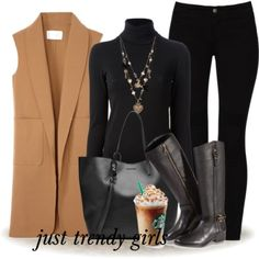 tan-vest-with-black-outfit- Women apparel and layering ideas http://www.justtrendygirls.com/women-apparel-and-layering-ideas/