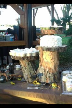"""TRANQUILITY HOLLOW Brides are invited to walk our woods to search for your own personal """"stump"""" for your cake stand. Rustic Wedding Reception, Wedding Cake Rustic, Wedding Cakes, Cute Wedding Ideas, Perfect Wedding, Dream Wedding, Wedding Stuff, Wedding Cheesecake, Wedding Cake Stands"""