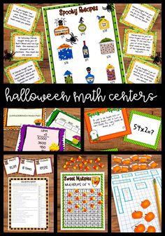 Halloween Math Centers - 4th Grade Math Centers