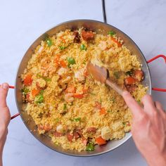 A quick and easy paella recipe that's our speedy take on the Spanish classic, featuring mouthwatering prawns, chorizo and peppers. Lunch Recipes, Easy Dinner Recipes, Easy Meals, Cooking Recipes, Easy Recipes, Paella Recipe, Couscous Recipes, Chicken Pasta Recipes, Party Stuff