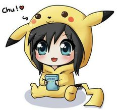 Chibi kid with a picachu costume on
