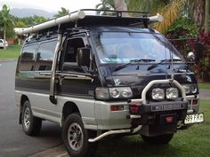 Mitsubishi Delica - now THATs a van I would drive! Its a turbo diesel and has seating for 7 or AWESOME MINIVAN! would buy 1 now! Off Road Camping, Van Camping, Off Road Truck Accessories, Mitsubishi Motors, Expedition Vehicle, 4x4 Trucks, Truck Camper, Campervan, Van Life
