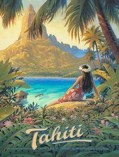 Tahiti vintage travel poster #vintageposters #vintagetravelposters