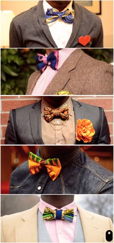 Great looks for men! Love these bow ties! #menswear 'nough said