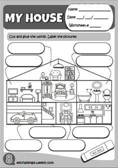 worksheets parts of the house Learning English For Kids, English Teaching Resources, English Grammar Worksheets, English Activities, Primary English, Kids English, Learn English, Italian Lessons, English Lessons