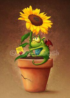 Sunflower and Dragon by Tooshtoosh.deviantart.com on @deviantART