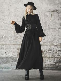 Brand Name: XITAOMaterial: PolyesterDecoration: NONEWaistline: empireSilhouette: A-LineSleeve Length(cm): FullPattern Type: AnimalSleeve Style: Lantern SleeveModel Number: AutumnStyle: Preppy StyleNeckline: O-NeckDresses Length: Ankle-Length Punk Dress, Goth Dress, Dark Fashion, Gothic Fashion, Mode Sombre, Chiffon Maxi Dress, Pleated Dresses, Gothic Outfits, Alternative Fashion