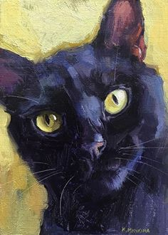 "Daily Paintworks - ""Blackcat - Original Fine Art for Sale - © Katya Minkina Black Cat Painting, Black Cat Art, Black Cats, Illustrations, Illustration Art, Cat Drawing, Animal Paintings, Oeuvre D'art, Crazy Cats"