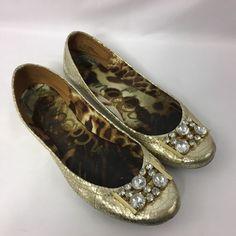 Sam Edelman Gold Faux Snakeskin Embellished Crystals Ballet Flats S-Caper Sz 9 #SamEdelman #BalletFlats #Casual