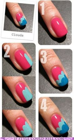 painted nails with clouds tutorial link: http://nailside.blogspot.ca/2012/01/tutorial-freehand-cloud-design.html