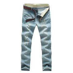 17.99$  Buy here - http://alimju.shopchina.info/go.php?t=32710520521 - 2017 new men's light-colored jeans hole straight Slim trousers long pants free shipping Men's Fashion 17.99$ #aliexpress