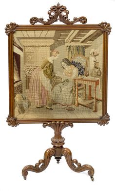 Victorian Fire Screen with Needlepoint Scene