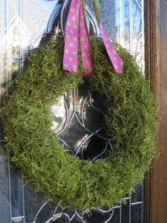 Easter Wreath - I  like the moss. use the other ideas of a pool noodle for base