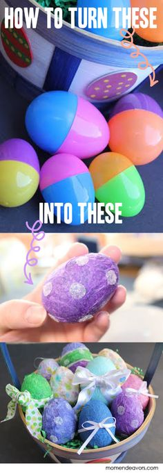 Turn ugly plastic eggs into cute paper mache Easter eggs via momendeavors.com #Easter #craft Easter Egg Crafts, Easter Stuff, Easter Decor, Plastic Easter Eggs, Easter Bunny, Easter Ideas, Easter Recipes, Easter Projects, Fun Projects