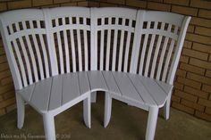 What I plan to do with my old chairs when I get to buy my new IKEA chairs! http://www.myrepurposedlife.com/wp-content/uploads/2013/05/finished-bench-0031.jpg