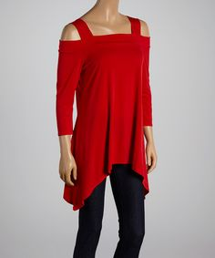 Loving this Red Cutout Top - Women & Plus on #zulily! #zulilyfinds