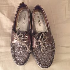 Sperry Top Sider Boat Shoes (Silver) These silver boat shoes has been worn two times and are ready for someone who will love them. These shoes can be dressed go of dressed down. Amazing shoes. Sperry Top-Sider Shoes