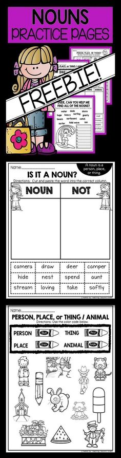 FREE Noun Practice Pages - Use this 18 page freebie with your or grade classroom or home school students. Everything focuses on different types of nouns - person, place, thing, or animal. These printable worksheets are great for ELA, reading Reading Comprehension Activities, Literacy Activities, Teaching Resources, Teaching Ideas, Literacy Skills, Teaching Grammar, Grammar Skills, Punctuation Activities, Pirate Activities