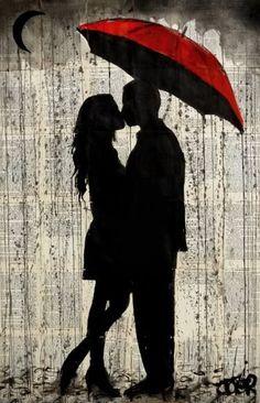 'rainy day love' Photographic Print by Loui Jover - Ink Painting Love Drawings, Art Drawings, Couple Drawings, Umbrella Art, Yellow Umbrella, Silhouette Art, Love Art, Art Sketches, Painting & Drawing