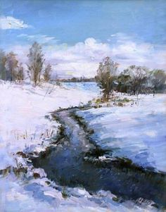 Winter Painting, River, Mountains, Nature, Oil On Canvas, Naturaleza, Nature Illustration, Off Grid, Winter Drawings