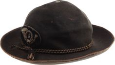 "Outstanding and Rare Civil War Officer's ""Plug Hat"" One of  the most difficult items of Civil War headgear to obtain is the  so-called ""plug hat"" with its distinctive low, rounded crown and  wide brim. This very popular form of slouch hat is seen extensively  in period photography yet only a handful of original specimens  survive today. This is one of the finest known examples. The 3""  wide brim has a"