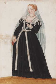 A  Paduan [...], The Venetian Woman in 'Mores Italiae,' 1575, Unknown Artist, Beinecke Rare Book and Manuscript Library, Yale University,  http://realmofvenus.renaissanceitaly.net/wardrobe/moresitaliae.htm