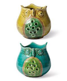 Ceramic Owl Jar Set