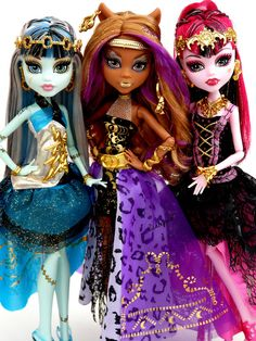 Frankie Stein, Clawdeen Wolf & Draculaura 13 Wishes Monster High Dolls, photo by Picklepud