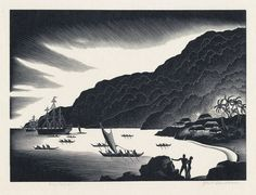 PAUL LANDACRE   Visitors.   Wood engraving on light tan Japan paper, 1935.