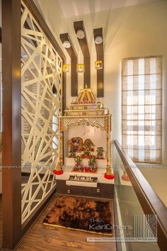 Pooja room designs classic style corridor, hallway and stairs by the karighars classic Temple Room, Home Temple, Pooja Room Door Design, Home Room Design, Design Kitchen, Indian Bedroom Design, Interior Design Layout, Interior Ideas, Temple Design For Home
