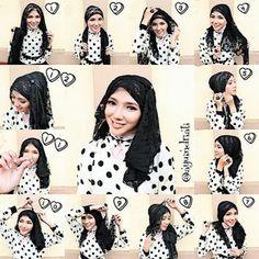 tutorial hijab black n white polkadot