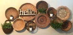 Farmhouse Baskets, Pattern Texture, Idee Diy, Boho Living Room, Basket Decoration, Baskets On Wall, Wall Decor, Future, Hostel