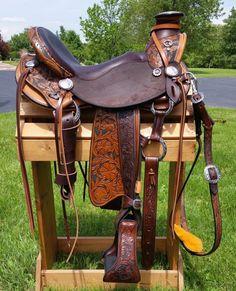 Custom Carved Allegany Mountain Trail saddle!  Kydaho Wade model! #trailsaddle #wadesaddle #customsaddle